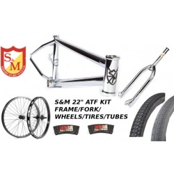 "S&M 22 INCH ATF FRAME 21.625 CHROME 22"" KIT WHEELS FORKS"