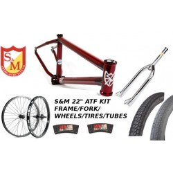 "S&M 22 INCH ATF FRAME 22.125 TRANS RED CHROME 22"" KIT"