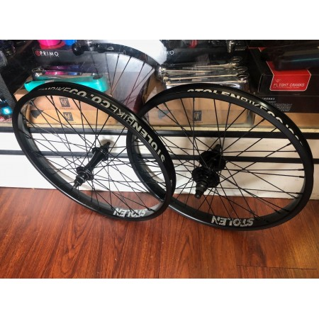 STOLEN BMX COMPLETE WHEEL SET REAR FRONT BLACK RHD WHEELS