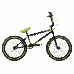 2020 STOLEN BRAND OVERLORD 20.25 BLACK W/ REFLECTIVE YELLOW COMPLETE BMX BIKE