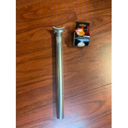 S&M LONG JOHNSON STEALTH SEAT POST POLISHED SILVER 320 MM SEATPOST PIVOTAL TALL