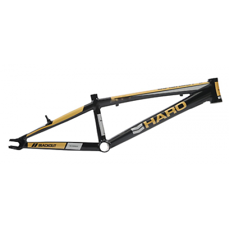 "HARO BLACKOUT PTC PRO XXL 21.5 RACE FRAME BLACK GOLD 21.5"" BIKE BMX"