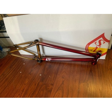 "S&M BIKES ATF FRAME TRANS RED TO GOLD FADE 20.75 INCH TT "" BMX  20.75"" 10 YEAR"