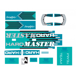 HARO RETRO 1988 FREESTYLE TEAM MASTER FRAME STICKERS TURQUOISE OLD SCHOOL DECA