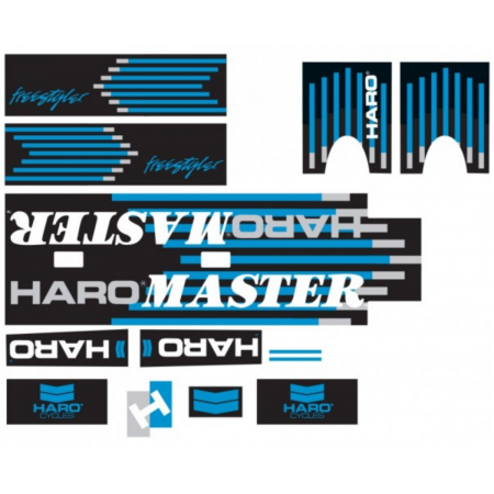 HARO RETRO 1988 FREESTYLE TEAM MASTER FRAME STICKERS BLACK BLUE OLD SCHOOL DECAL
