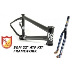 S&M 22 Inch Atf Frame 22.125 Flat Black Chrome Forks Kit Faction  Bmx Bike 22""