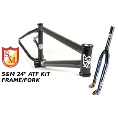 S&M 22 Inch Atf Frame 21.625 Flat Black Chrome Forks Kit Faction  Bmx Bike 22""