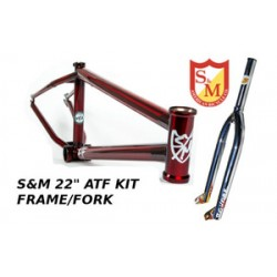 S&M 22 Inch Atf Frame 21.625 Trans Red Chrome Forks Kit Faction  Bmx Bike 22""