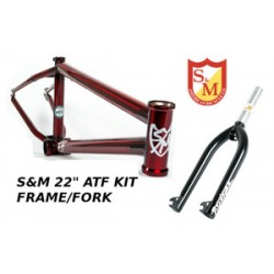 S&M 22 Inch Atf Frame 22.125 Trans Red Black Forks Kit Faction  Bmx Bike 22""