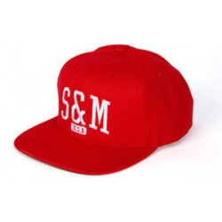 S&M Crew Red Classic Snap Back Fit Bike Hat Bmx Bikes Dc Bmx Cap Bikes Baseball